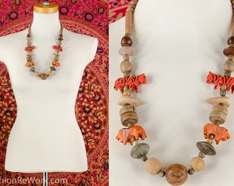LIONS and TIGERS Wood Bead Necklace Earthy Beaded Necklace