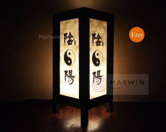 Asian Oriental Yin Yang Lantern Japanese Lamp Zen Bedside Lamp Floor Table Lamp Paper Japanese Light Lamp Shades Bedroom Decor Living Room