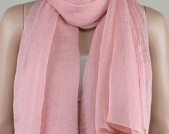 Pink chiffon scarves, the four seasons of spring, summer, autumn and winter scarves, shawls, thin elegant, clothing accessories