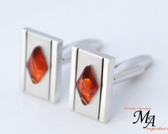 15084 Elegant Cufflinks with Amber Stone + Certificate cuff links man