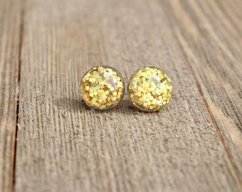 Yellow Glitter Stud Earrings
