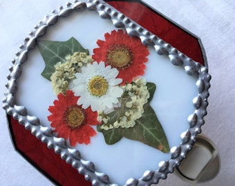 Stained Glass Nightlight|Daisies|Bridal Wreath|Ivy|Pressed Flower Art|Red, White & Blue|OOAK|Handcrafted|Made in USA