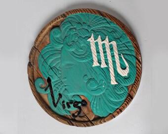 Vintage Virgo Zodiac Plaque