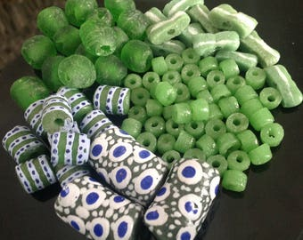 Lime Themed Bead Set, Lime Beads, Krobo Beads, Mix Beads, Recycled Glass Beads, African Beads, Tribal Beads