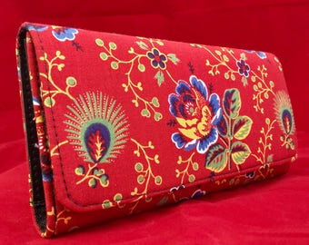 Checkbook style handmade handcrafted floral print wallet