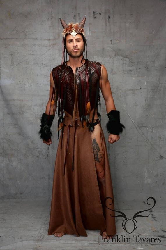 Viking Kilt of Tribal Wear Stylish Gladiator Star Warrior Rock Around Glam Fringes Wrap Black skirt Suede Festival Men's Brown Game Thrones 7XnqIxZwg
