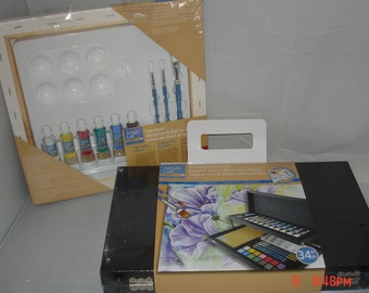 Wood Hardside Art Case with Acrylic Paints, Water color Paints & Brushes, Drawing Pencils, Pre-Printed Stretched Canvas Complete 46piece set