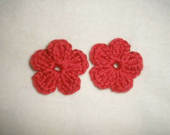 set of six crochet flowers applique