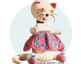 Ugly Cat Crochet Pattern Vintage Fat Cat Stuffed Toy Granny Square Skirt Crochet Amigurumi Kitty Pattern Instant Download C88