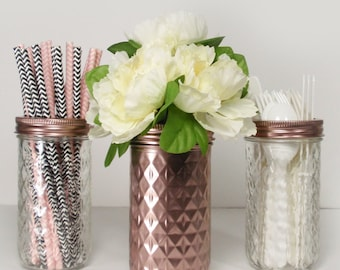 3-  Rose Gold Metallic Hand Painted Mason Jars Flower Vases-Country Decor-Cottage Chic-Shabby Chic-French Chic