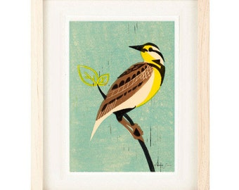 MEADOW LARK Bird Linocut Reproduction Giclee Art Print: 4 x 6, 5 x 7, Wall Art, Home Decor, Rustic, Shabby Chic, Farmhouse Style