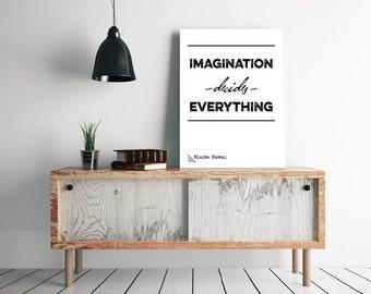 "Blaise Pascal ""Imagination"" Quote - 24 x 36"" + 70 x 100 cm Printable Poster - Modern Typography / Scandinavian Design Minimalist Print"