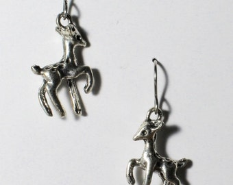 Deer earrings on hypoallergenic surgical steel ear wires