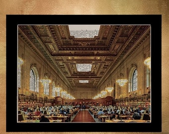 SALE--ships May 29-- New York City Library Reading Room Dictionary Art Print, Architecture Nyc Upcycled Wall Art Home Decor da552