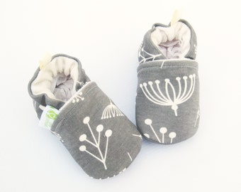 Organic Knits Twigs in Grey Shroom / All Fabric Soft Sole Baby Shoes / Made to Order / Babies