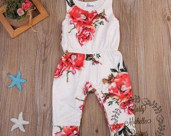 Baby girl's floral pants romper