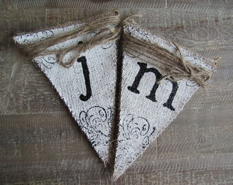 JUST MARRIED Glittered Painted Scrolly Wedding Burlap Banner