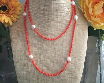 Long Strand Coral and Freshwater Pearl Necklace, Summer Necklace, Pearl Necklace
