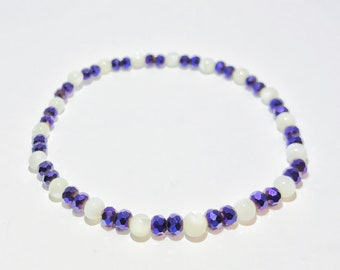 Blue Iris-glass Bead and Mother of Pearl Elastic Bracelet