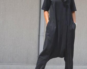 Woman black jumpsuit, black jumpsuit, black harem jumpsuit, linen jumpsuit, ladies jumpsuit, jumpsuits for lady, loose jumpsuit, drop crotch