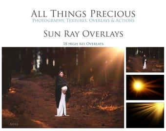 18 High Res Fine Art Digital SUN RAY / Lens FLARE Overlays / Textures