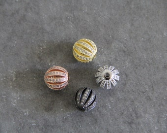 CZ Micro Pave 12mm  Hollow Round Beads