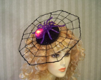 Halloween Light Up Purple Spider Web Fasciantor With FLAshing lights Spider Spiderweb Halloween Party Hat