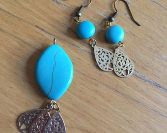 matching turquoise earring and pendant set