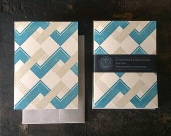 6 Chevron Letterpress Notecards - Blue & Tan