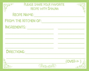 50 Personalized Recipe Cards -  Classic Green