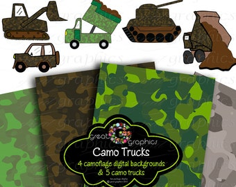Army Clip Art Army Party Digital Paper Army Tank Camoflauge Paper Printable Army Clipart Army Jeep Camoflage Paper - Instant Download