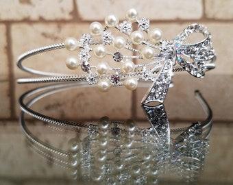 bow and pearl  headband