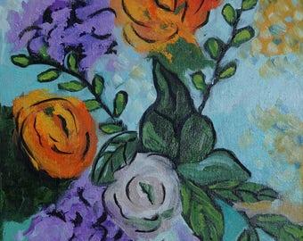 "11""x14"" Oil Painting of Flowers by Debi Sellinger"