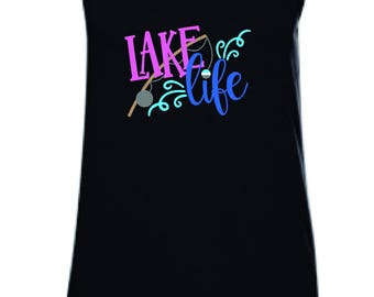 Lake life tank top, lake tank, fishing tank, tank top, Anvil tank top, Vacation tank, lake tank top, beach tank, up to 2x