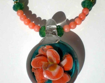Borosilicate Pendant Dark Green Floral Necklace w Coral Pearls Green Opal Swarovski Crystals