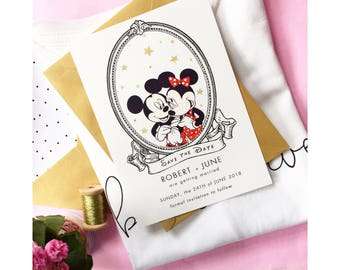 Disney Save the Dates - Mickey Mouse Save the Date - Minnie Mouse Save the Date - Disney wedding invitations