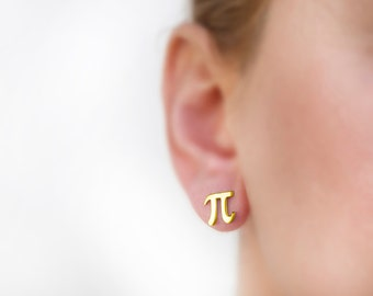 Pi earrings, K9 yellow gold, Pi studs, math earring tiny, solid gold stud, math jewelry, Greece jewelry, nerd earring math, geek jewelry
