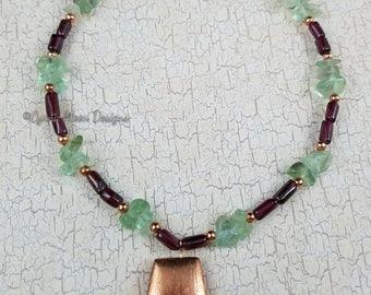Copper Garnet & Fluorite Necklace