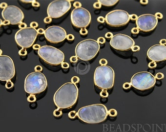 Natural Rainbow Moonstone Faceted Bezeled Connector, Gold Vermeil, Incredible Blue Fire,9x12mm,1 Piece, (RNBC9x12)