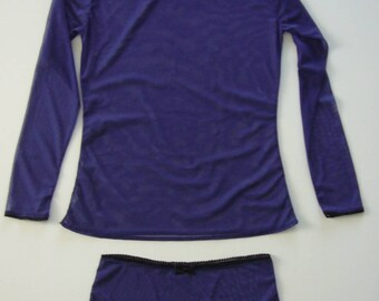Ultra-Violet second skin, lingerie ensemble, long sleeve,  thong style panties , purple, black, stretchable tulle, see through