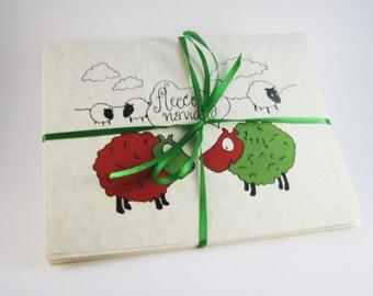 Satz von 8 Schafe Weihnachtskarten - Fleece Navidad