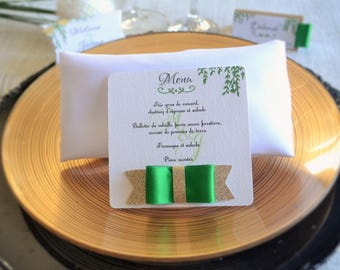 MENU wedding colors green and gold glitter