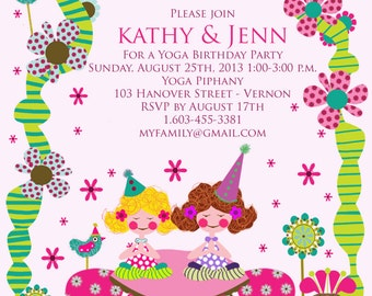 "Yoga Birthday Party Invitation & Thank you note, custom printable invitation 4 x 6"" + FREE instant download Yoga Blessing"