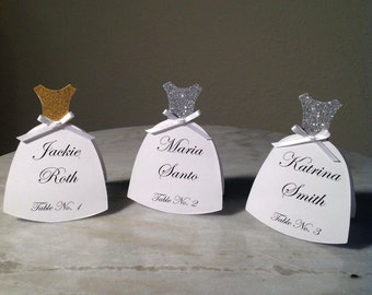 Bridal Dress Place Name Cards