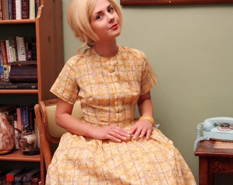 1950's Vintage Yellow Plaid Dress