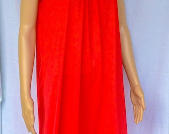 Red Nylon and lace Nightgown made by Movie Star FREE SHIPPING!!