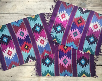 Woven Placemats Guatemala Textiles, Small Table Runner, Southwestern Decor
