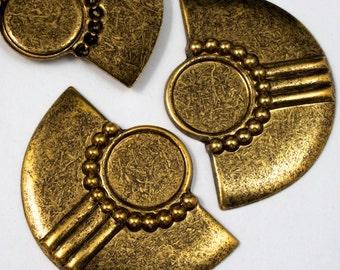 40mm Antique Brass Art Deco Cabochon Setting #2099