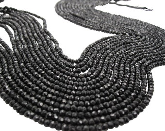 Black Spinel Beads, Black Spinel Rondelles, 3mm Faceted Rondelles, SKU 3618