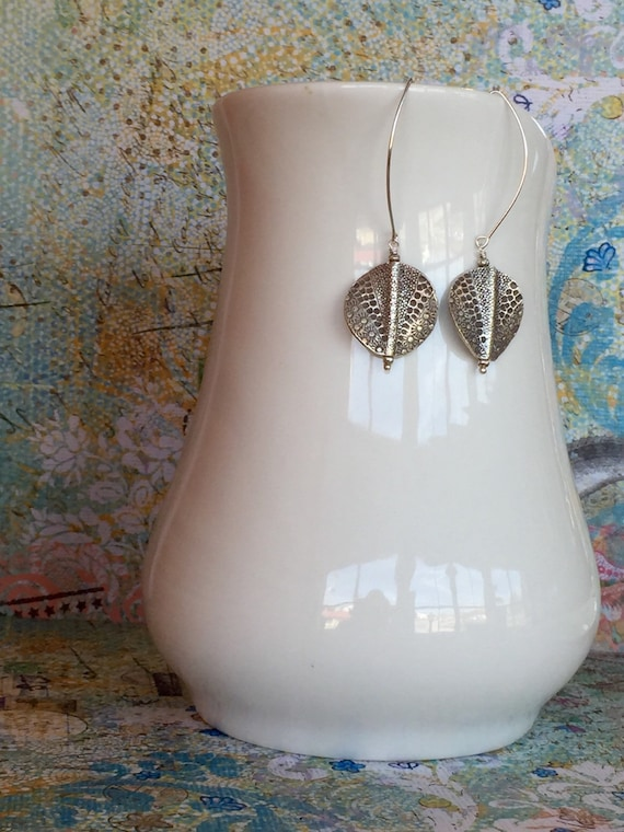 Thai Patchwork. Stamped fine silver coin earrings handmade by ladeDAH! Jewelry.